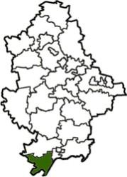 расположение Першотравневого района на карте Донецкой области