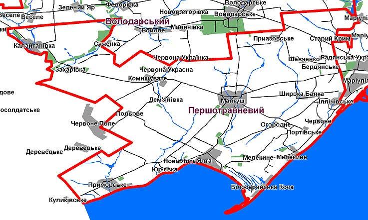 Карта Прешотравневого района Донецкой области